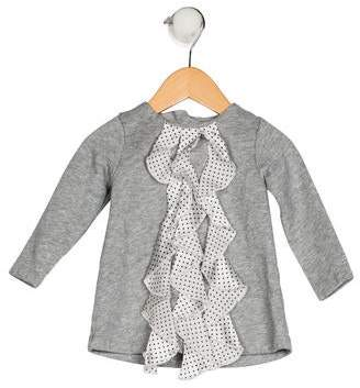 Miniclasix Girls' Ruffled-Trimmed Long Sleeve Top