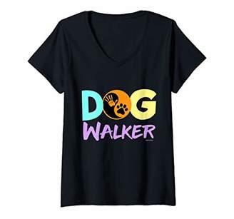 Womens Dog Walking Yin and Yang Dog Lover V-Neck T-Shirt