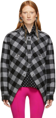 Balenciaga Grey and Black Check Flannel Swing Canadian Jacket