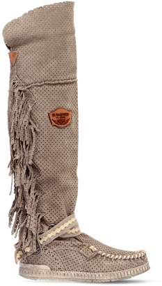 EL VAQUERO 70mm Delilah Fringed Suede Wedge Boots