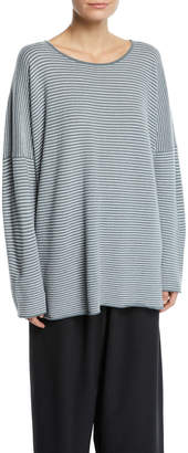 eskandar Crewneck Dropped-Shoulder Striped Cashmere Pullover Sweater