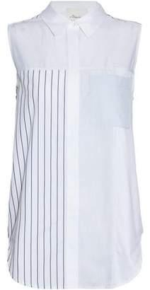 3.1 Phillip Lim Paneled Striped Cotton-Poplin Shirt