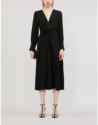 Sandro Wrap-front V-neck poplin dress