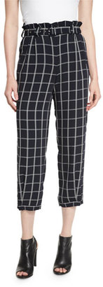 Elizabeth and James Fritz Cropped Paperbag-Waist Check Pants, Royal $355 thestylecure.com