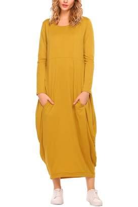 Zeagoo Women Long Sleeve Solid Casual Loose Fit Pockets Maxi Long Dress