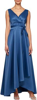 Alex Evenings Wrap Look Satin Evening Dress
