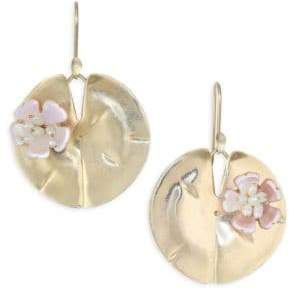 Annette Ferdinandsen Flora Mother of Pearl& 14K Yellow Gold Lily Pad Earrings