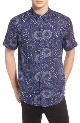 Treasure & Bond Trim Fit Print Linen Sport Shirt