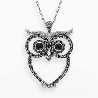 Swarovski Lavish By Tjm Lavish by TJM Sterling Silver Onyx & Crystal Owl Pendant - Made with Marcasite