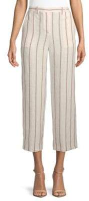 Theory Nadeema Striped Wide-Leg Linen Pants