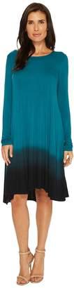 Mod-o-doc Rayon Spandex Jersey Dip-Dye Long Sleeve Swing Dress Women's Dress