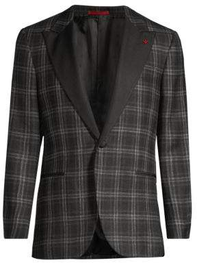 Isaia Plaid Single-Breasted Wool, Silk & Linen Dinner Jacket