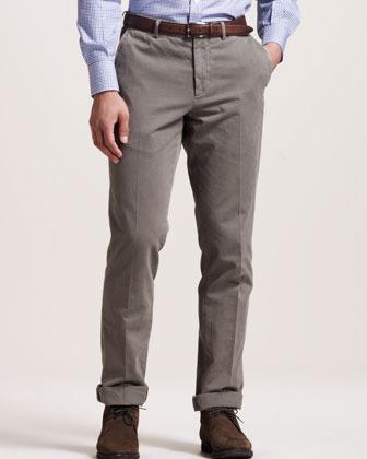 Brunello Cucinelli Basic Flat-Front Pants, Chestnut