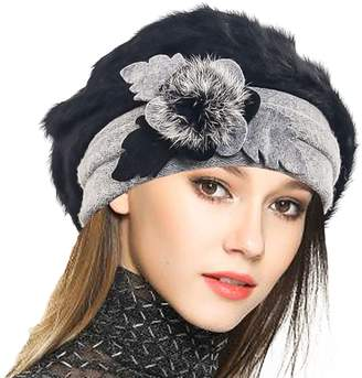 15c0f4a499d Cloche JESSE · RENA Woen Wool French Beret Angola Beanie Skull Cap Winter  Hats (Bow