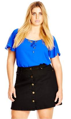 City Chic Citychic Lace Up Lover Top
