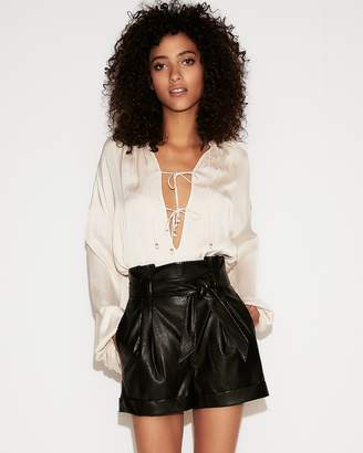 Express High Waisted (Minus The) Leather Sash Waist Shorts