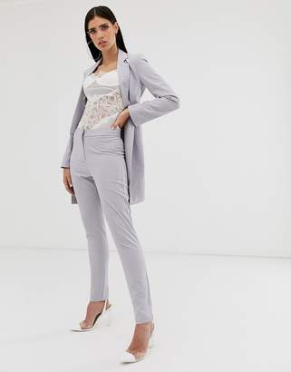 Parallel Lines tailored cigarette pants coord in soft gray