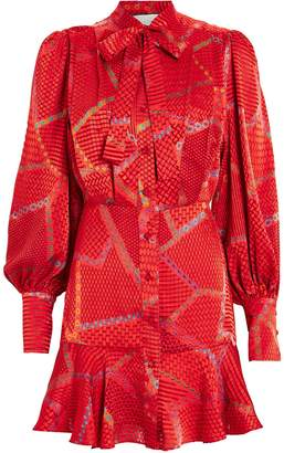 Alexis Lishan Tie Neck Printed Mini Dress