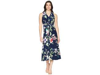 Chaps Floral Twist-Front Jersey Dress Women's Dress