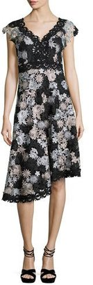 Nanette Lepore Cap-Sleeve Asymmetric Floral Lace Dress, Black/Silver $598 thestylecure.com