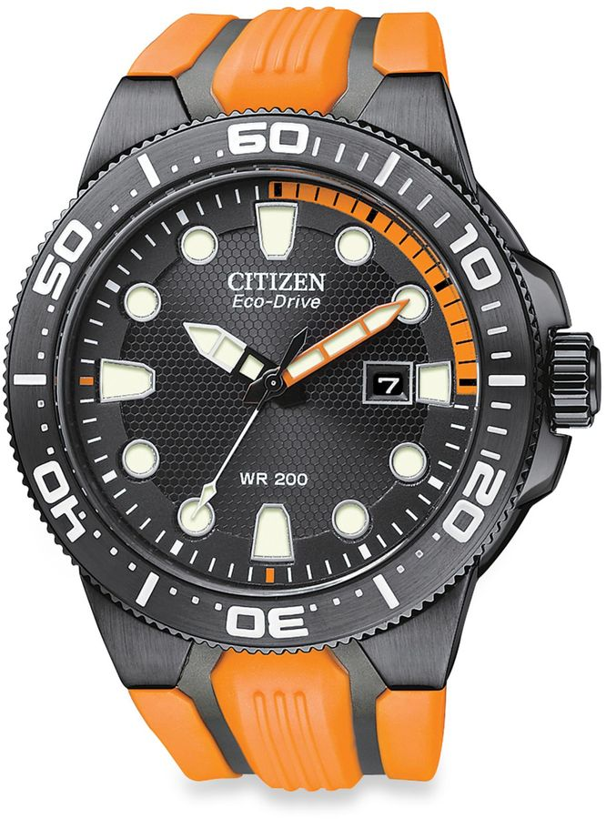 Citizen Men's Eco-Drive Scuba Fin Black Stainless Steel Watch with Orange Strap
