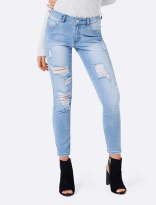 Forever New Poppy Petite Mid-Rise Ankle Grazer Jeans - Super Bleach Distress - 8