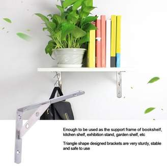 HURRISE 1 Pair Stainless Steel L-Shaped Wall-Mounted Shelf Brackets Support Frame Home Hardware 8inch