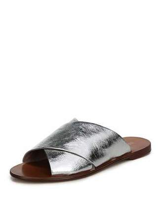 Diane von Furstenberg Bailie Crossover Metallic Leather Flat Slide Sandal