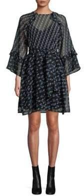 Marella Geometric Bell-Sleeve Dress