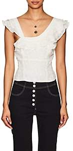 FiveSeventyFive Women's Ruffle Fil Coupé Sleeveless Blouse - White