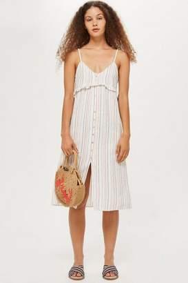 Topshop Button Striped Midi Dress