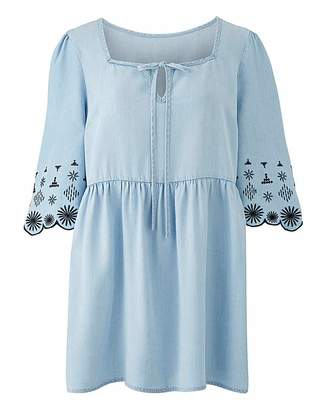 Fashion World Tencel Embroidered Floaty Smock Tunic