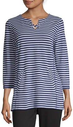 Liz Claiborne Weekend Sp 19 Womens Split Crew Neck 3/4 Sleeve Tunic Top