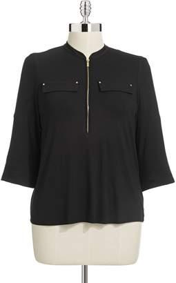 Calvin Klein Plus Zip Front Roll-Sleeve Top