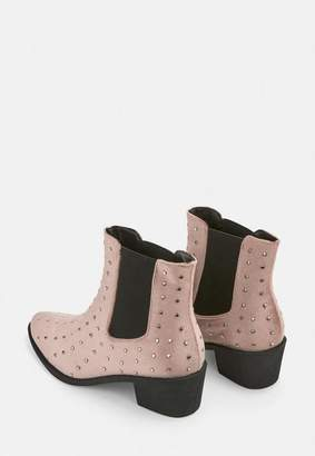 Missguided Pink All Over Studded Velvet Western Boots