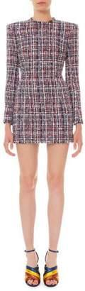 Balmain Long-Sleeve Tweed Mini Dress