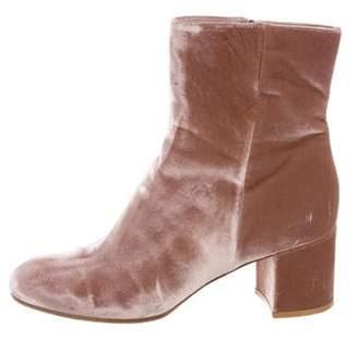 Gianvito Rossi Velvet Round-Toe Ankle Boots