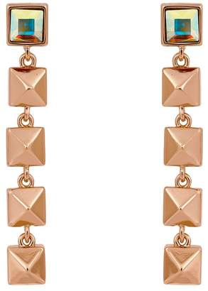 Karl Lagerfeld Rose Gold Plated Swarovski Crystal Accented Pyramid Linear Earrings