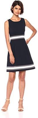 Tommy Hilfiger Women's Scuba Crepe Sleeveless Fit and Flare Color Block Dress