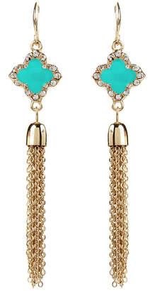 Amrita Singh Clover Tassel Crystal & Enamel Earrings