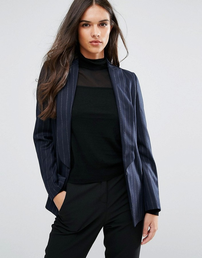 SisleySisley Pin Stripe Single Button Blazer