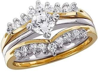 Generic 1.02 Carat T.G.W. CZ Two-Tone Wedding Ring Set