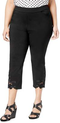 INC International Concepts Plus Lace-Hem Mid-Rise Capri Pants