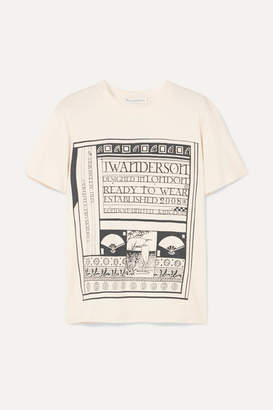 J.W.Anderson Distressed Printed Cotton And Silk-blend Jersey T-shirt - Off-white