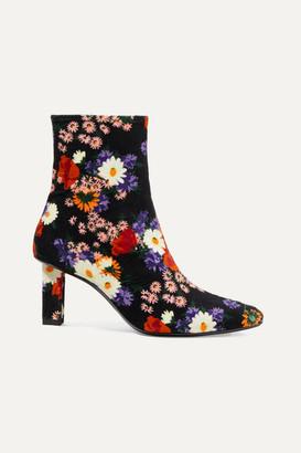 STAUD Brando Floral-print Velvet Ankle Boots - Black