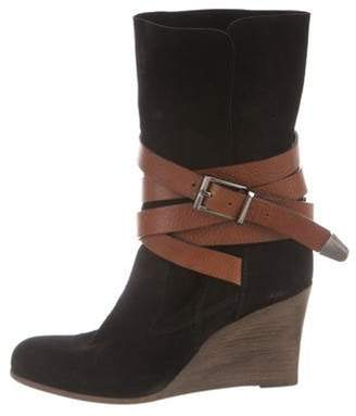 Barbara Bui Suede Wedge Ankle Boots Black Suede Wedge Ankle Boots