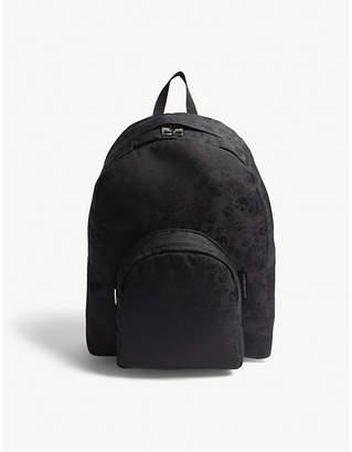 Alexander McQueen Black Woven Jacquard Skull Backpack