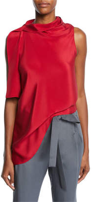 Roland Mouret Travistock Sleeveless Asymmetric Draped Silk Blouse