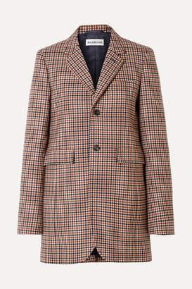 Balenciaga Checked Wool-blend Blazer - Brown