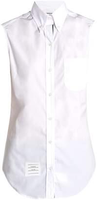 Thom Browne Sleeveless button-down collar cotton-poplin shirt